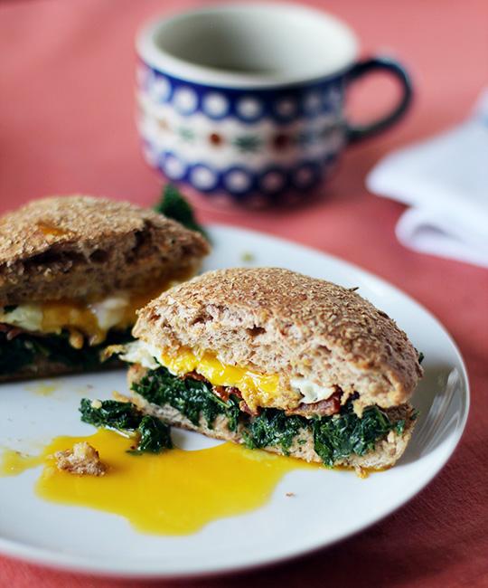 Kale, Bacon & Egg Whole Wheat Breakfast Sandwich