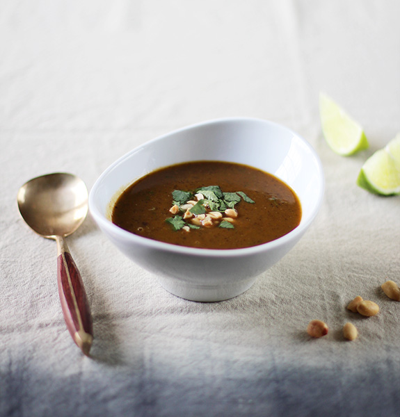Black Bean & Pumpkin Soup with Peanut & Lime