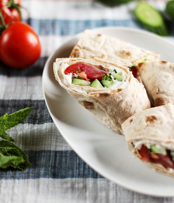 Cucumber, Tomato & Yogurt Whole Wheat Breakfast Wrap / Eat Your Greens