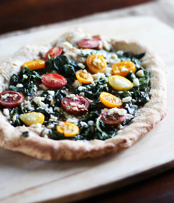 Spinach, Feta and Tomato Whole Wheat Pizza at Eat Your Greens