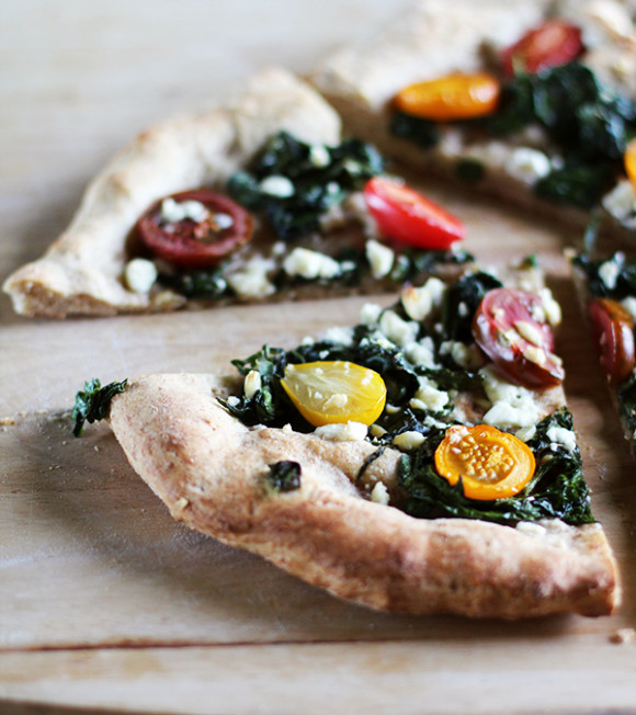 Spinach, Feta & Tomato Whole Wheat Pizza at Eat Your Greens