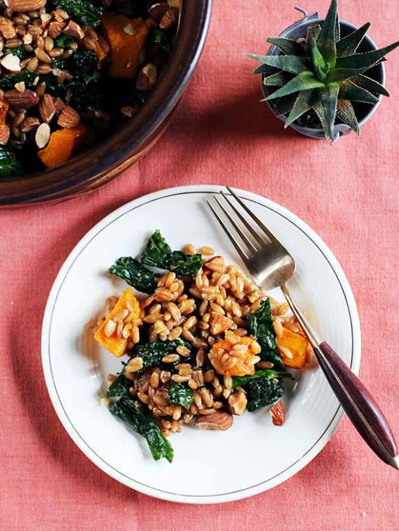 Warm Rye Berry, Roasted Pumpkin & Kale Salad from Eat Your Greens